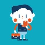 Progettazione dell'illustrazione del carattere Uomo d'affari facendo uso del carretto del telefono cellulare Immagini Stock Libere da Diritti