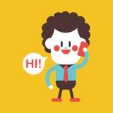 Progettazione dell'illustrazione del carattere Uomo d'affari facendo uso del carretto del telefono cellulare Fotografia Stock Libera da Diritti