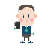 Progettazione dell'illustrazione del carattere Uomo d'affari facendo uso del carretto del telefono cellulare Immagine Stock