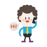 Progettazione dell'illustrazione del carattere Uomo d'affari facendo uso del carretto del telefono cellulare Fotografie Stock