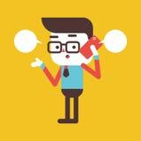 Progettazione dell'illustrazione del carattere Uomo d'affari facendo uso del carretto del telefono cellulare Immagine Stock Libera da Diritti