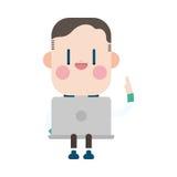 Progettazione dell'illustrazione del carattere Uomo d'affari facendo uso del cartoo del computer Fotografie Stock Libere da Diritti