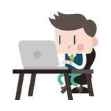 Progettazione dell'illustrazione del carattere Uomo d'affari facendo uso del cartoo del computer Immagine Stock