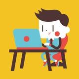 Progettazione dell'illustrazione del carattere Uomo d'affari facendo uso del cartoo del computer Fotografia Stock Libera da Diritti