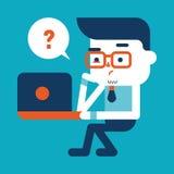 Progettazione dell'illustrazione del carattere Uomo d'affari facendo uso del cartoo del computer Fotografia Stock