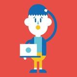 Progettazione dell'illustrazione del carattere Uomo d'affari facendo uso del cartoo del computer Immagini Stock Libere da Diritti