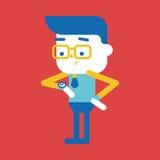 Progettazione dell'illustrazione del carattere Uomo d'affari sul fumetto di tempo, ENV Immagini Stock Libere da Diritti