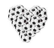 Progettazione dell'illustrazione del cuore dei palloni da calcio Immagini Stock