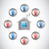 Progettazione dell'illustrazione del home network Fotografie Stock