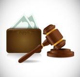 Progettazione dell'illustrazione del portafoglio dei soldi e del martello di legge Fotografie Stock Libere da Diritti