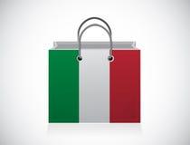 Progettazione dell'illustrazione del sacchetto della spesa della bandiera dell'Italia Fotografia Stock