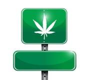Progettazione dell'illustrazione del segnale stradale della marijuana Immagine Stock