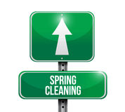 Progettazione dell'illustrazione del segnale stradale di pulizie di primavera Fotografia Stock