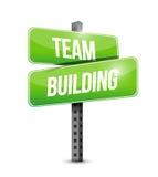 Progettazione dell'illustrazione del segnale stradale di team-building Fotografia Stock