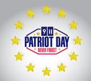 progettazione dell'illustrazione del segno della guarnizione della stella di giorno del patriota Fotografia Stock