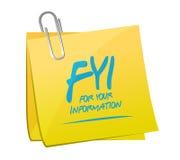 progettazione dell'illustrazione dell'appunto di For Your Information del FYI illustrazione vettoriale