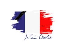 progettazione dell'illustrazione della bandiera del francese di charlie di suis del je Immagini Stock