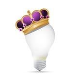 Progettazione dell'illustrazione della corona e della lampadina Immagine Stock Libera da Diritti