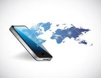Progettazione dell'illustrazione della rete della mappa di mondo del telefono Fotografia Stock