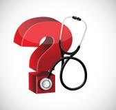 Progettazione dell'illustrazione dello stetoscopio del punto interrogativo Immagine Stock