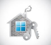 Progettazione dell'illustrazione di chiavi e della casa Fotografie Stock Libere da Diritti