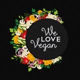 Progettazione dell'illustrazione di concetto dell'alimento del vegano con le verdure Fotografia Stock Libera da Diritti