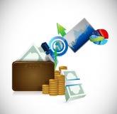 Progettazione dell'illustrazione di concetto di affari del portafoglio Immagine Stock Libera da Diritti