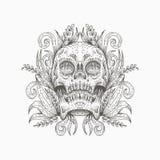 Progettazione dell'illustrazione di vettore della decorazione del cranio illustrazione di stock