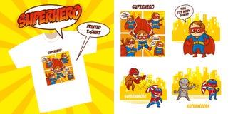 Progettazione dell'illustrazione di vettore fissata supereroi del carattere del supereroe royalty illustrazione gratis