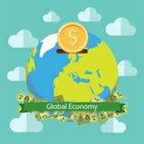 Progettazione dell'illustrazione di vettore di risparmio del mondo di economia globale Investimento globale Immagine Stock Libera da Diritti
