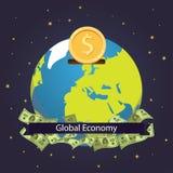 Progettazione dell'illustrazione di vettore di risparmio del mondo di economia globale Investimento globale Fotografia Stock Libera da Diritti