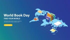 Progettazione dell'insegna del sito Web di giorno del libro del mondo con le mappe di mondo e rete del libro attraverso i mondi illustrazione di stock