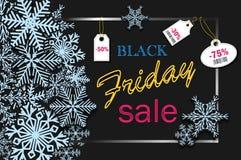 Progettazione dell'insegna di Black Friday con i fiocchi di neve blu e gli sconti di prezzi per il partito, per acquisto online,  Illustrazione Vettoriale