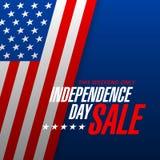Progettazione dell'insegna di vendita di festa dell'indipendenza Fotografie Stock Libere da Diritti