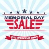Progettazione dell'insegna di vendita di Memorial Day di vettore Fondo per la vendita di Memorial Day fotografia stock libera da diritti