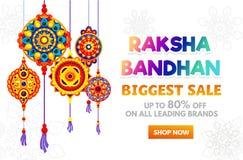 Progettazione dell'insegna di vendita di Raksha Bandhan Templ di progettazione di sconto di festa royalty illustrazione gratis