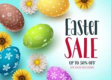 Progettazione dell'insegna di vettore di vendita di Pasqua con le uova variopinte ed i fiori per lo sconto di compera illustrazione di stock