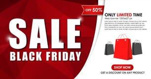 Progettazione dell'insegna di web da vendere su Black Friday Immagine Stock