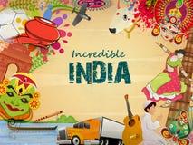 Progettazione dell'insegna o del manifesto dell'India incredibile Immagine Stock Libera da Diritti
