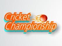 Progettazione dell'insegna o del manifesto per il campionato del cricket Immagini Stock