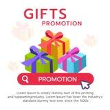 Progettazione dell'insegna piana di promozione del contenitore di regalo Immagine Stock