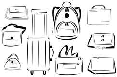 Progettazione dell'insieme di vettore dell'icona delle borse Fotografia Stock Libera da Diritti