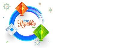 Progettazione dell'intestazione o dell'insegna del sito Web con gli aquiloni colourful su fondo bianco illustrazione di stock