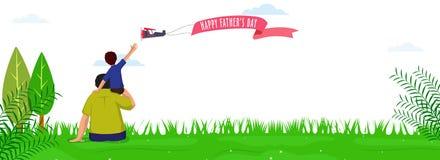 Progettazione dell'intestazione o dell'insegna del sito Web per la celebrazione felice di giorno del ` s del padre giorno illustrazione di stock