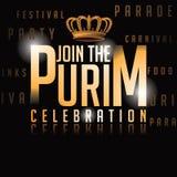 Progettazione dell'invito del fondo di celebrazione di Purim illustrazione di stock