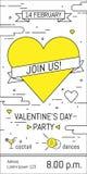 Progettazione dell'invito del partito di giorno di biglietti di S. Valentino Vector il modello dell'invito, del manifesto o della Immagine Stock