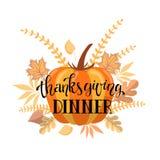 Progettazione dell'invito della cena di ringraziamento di Handlettering Fotografie Stock Libere da Diritti