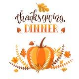 Progettazione dell'invito della cena di ringraziamento di Handlettering Immagine Stock