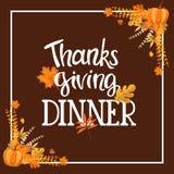 Progettazione dell'invito della cena di ringraziamento di Handlettering Fotografia Stock Libera da Diritti
