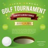 Progettazione dell'invito di torneo di golf Fotografie Stock Libere da Diritti